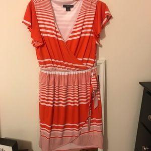 Orange and white striped faux wrap dress